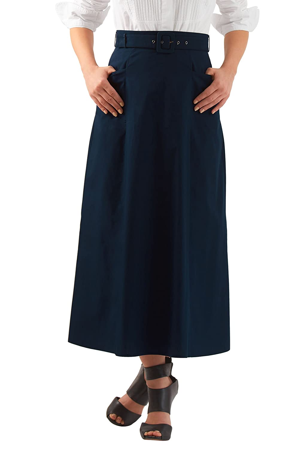 Retro Skirts: Vintage, Pencil, Circle, & Plus Sizes eShakti Womens Belted cotton poplin maxi skirt $37.95 AT vintagedancer.com