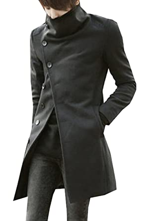 c02423208e Generic Mens Korean Slim Fit Single Breasted Wide Lapel Trench Coat Black XS