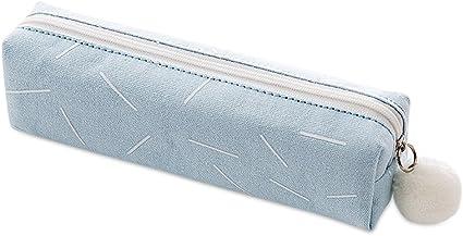 Jia Hu - Estuche para lápices (2 unidades, cuadrado, con cremallera), color azul: Amazon.es: Oficina y papelería