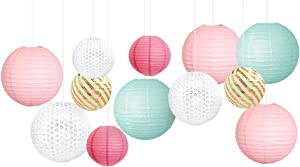 NICROLANDEE Birthday Party Decorations - Mint Green Pink White Paper Lanterns Kit for Wedding Bridal Shower Baby Shower Princess Girl Pastel Party Decor (Mint Pink)