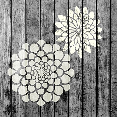 J BOUTIQUE STENCILS Zinnia Flower Small Stencils Set - Pack of 2 - Painting for Wood Wall Furniture Floor Tiles