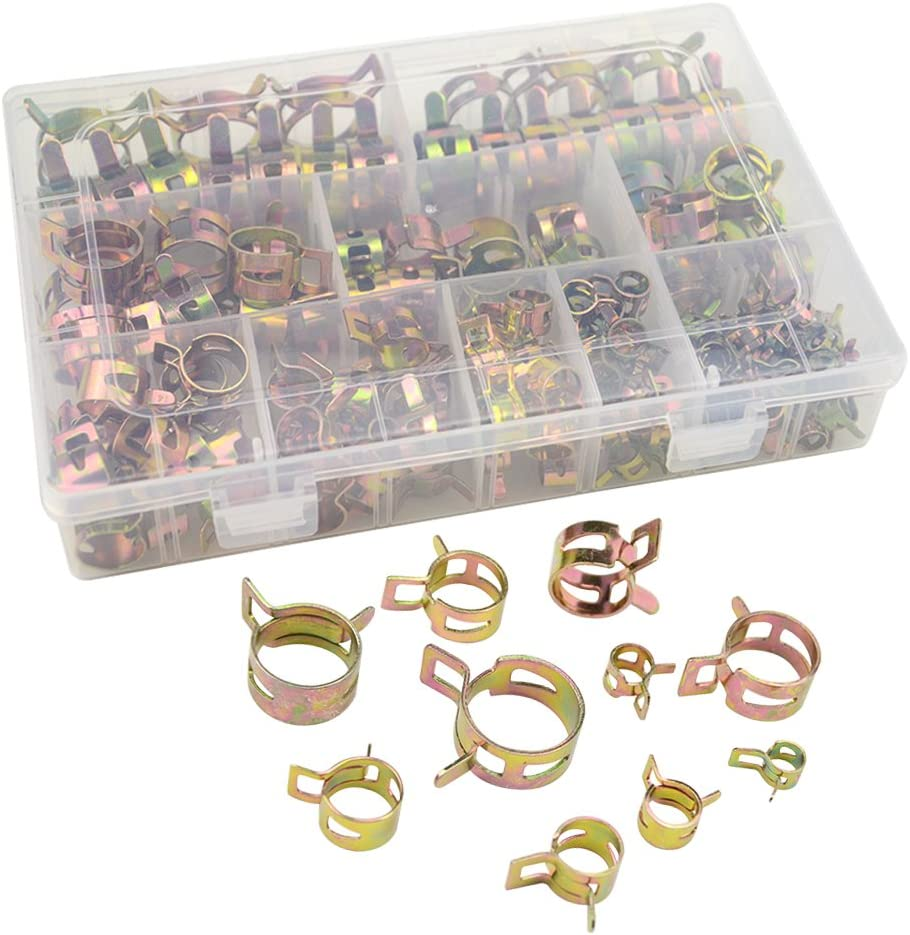 WMYCONGCONG 155 PCS Spring Clips Silicone Vacuum Fuel Hose Line Water Pipe Air Tube Clamps Fasteners Assortment Kit 6mm 8mm 10mm 12mm 14mm 15mm 16mm 18mm 20mm 22mm