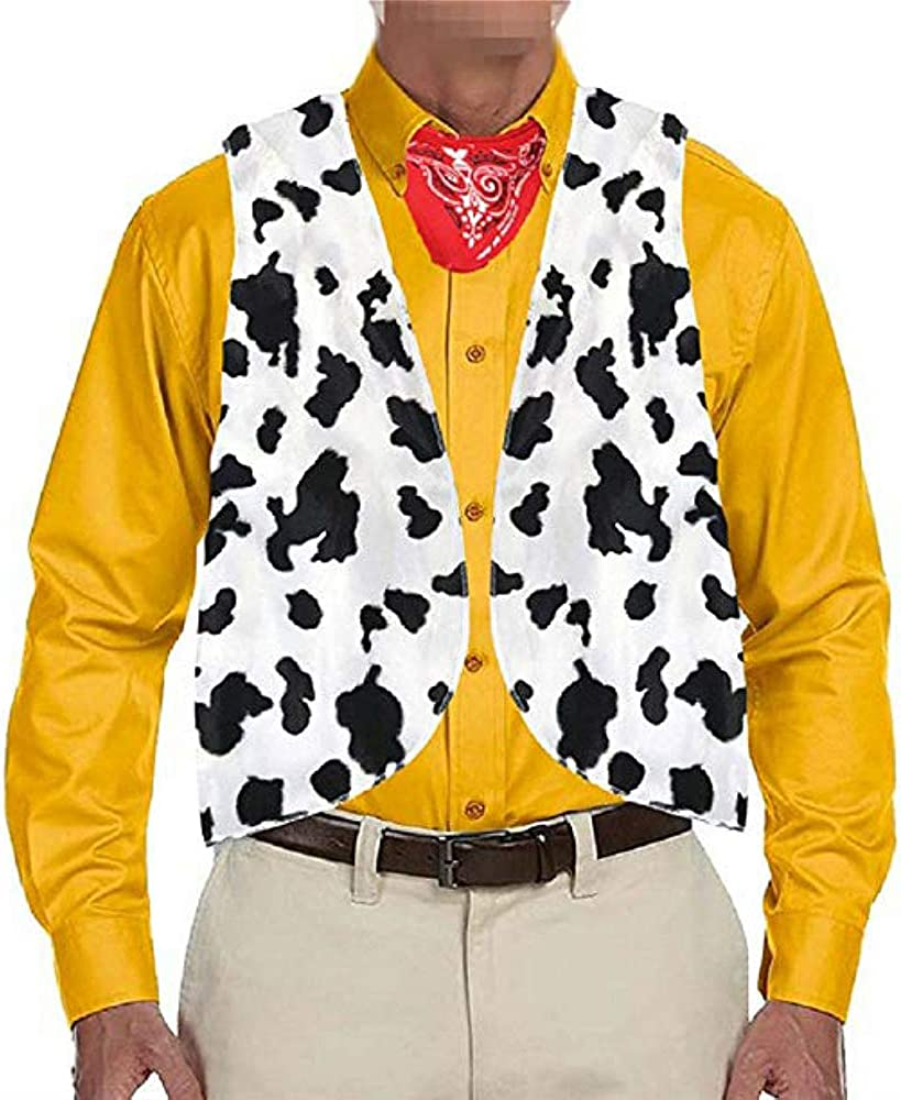 Chaleco para hombre, estampado de vaca, para adultos, festival, Navidad, vintage, hippie, Halloween, chalecos cortos