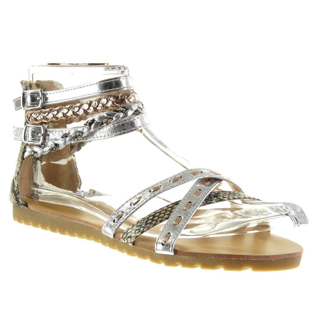 Angkorly Damen Schuhe Sandalen - Sexy - Multi-Zaum - Geflochten - Schlangenhaut Flache Ferse 1.5 cm Silber
