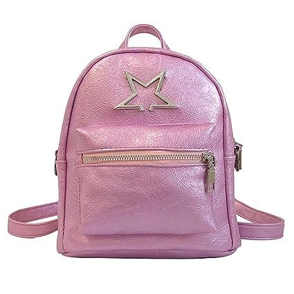 20ab3f8f467bd Amazon.com  Sunshinehomely Fashion Girls Leather Mini Shoulder Bag Student  Children School Bag Travel Backpacks for Women Girls (Pink)  Sports    Outdoors