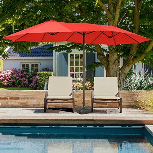 Romayard Double-Sided Outdoor Umbrella,15×9 ft Aluminum Garden Large Umbrella