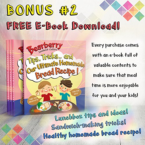 Bearberry Sandwich Cutters, Bread Crust & Cookie Stamp Set - Fun Heart, Dinosaur, Food Shapes for Kids Bento Lunch Box, Boys and Girls - GET FREE Mini Stainless Steel Vegetable & Fruit Press! by Bearberry (Image #3)