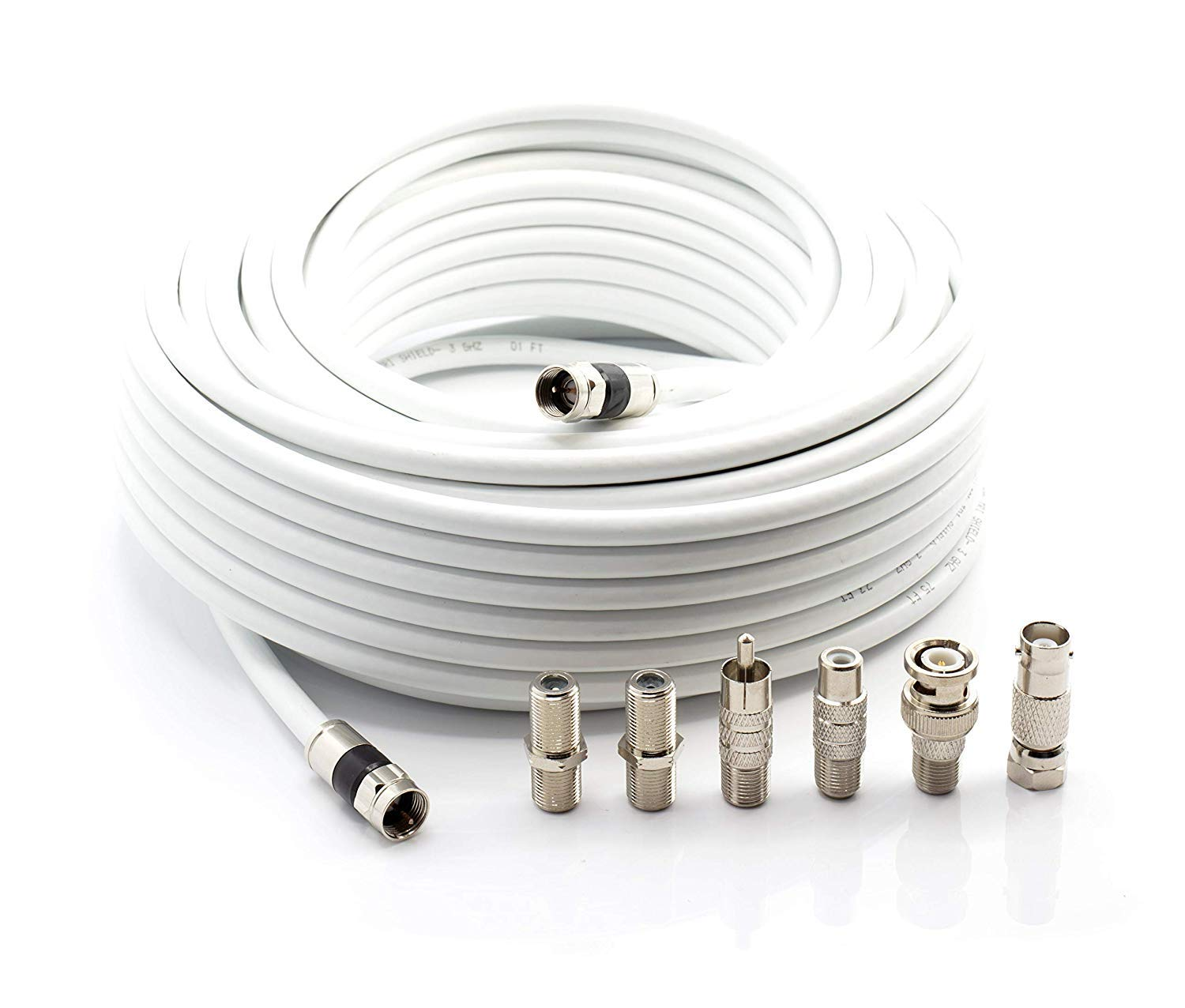 THE CIMPLE CO - Digital Coaxial Cable Kit with Universal Ends |RG6 Coax Cable and six (6) Piece Adapter Kit Includes Male Female RCA BNC F81, ...