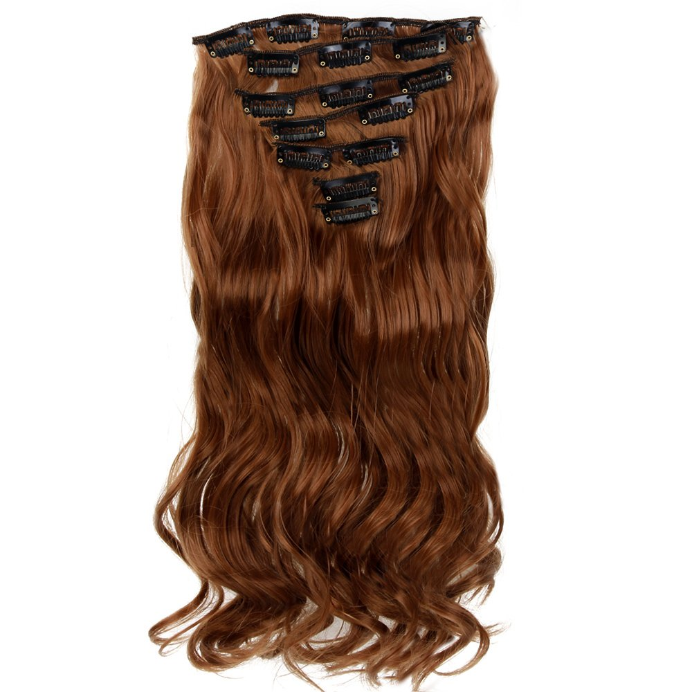 "Neverland Beauty 22"" Full Head Clip Extensión del pelo Hair Extensions , Wavy-7 Piece with 16 clips, Medium Brown"