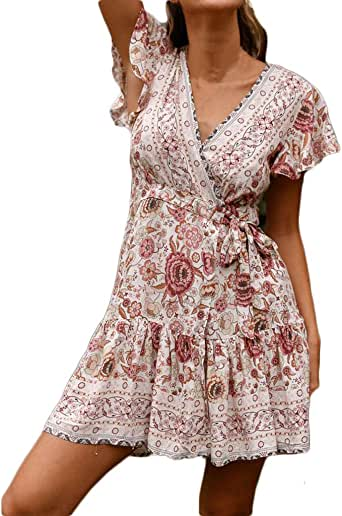 Womens Casual High Waist Bohemia Print V Neck Button National Style Midi Dress