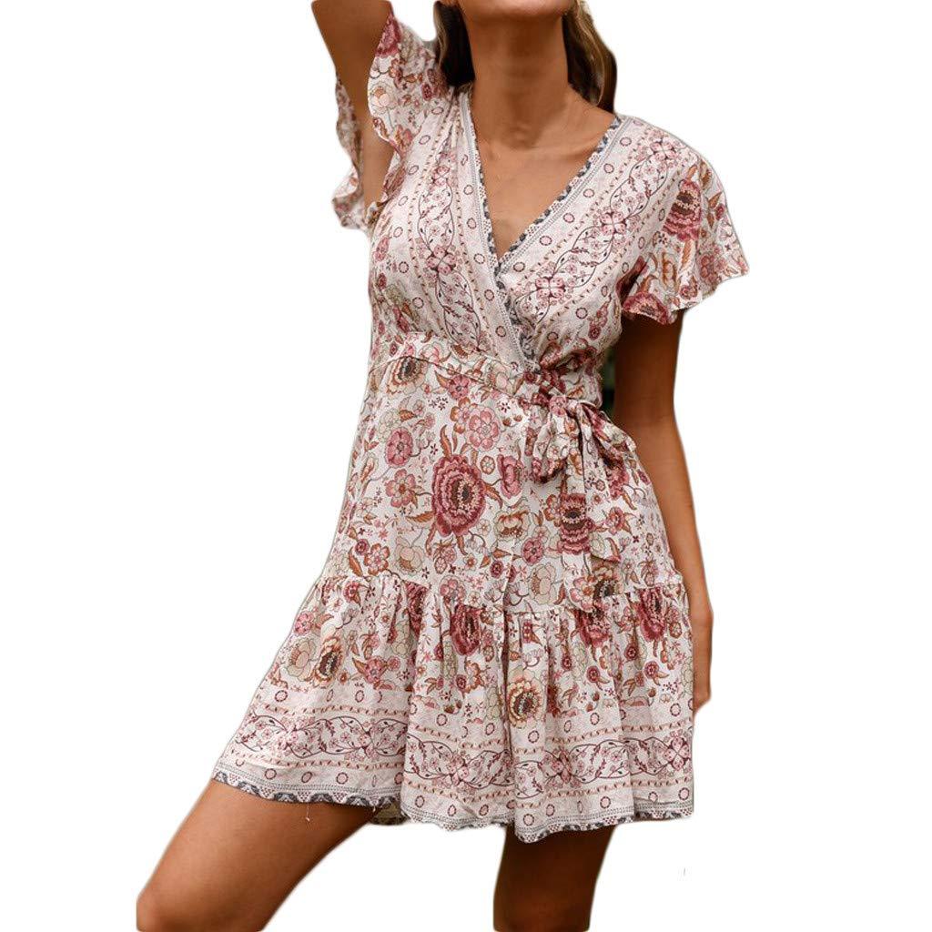 Veodhekai Dress Womens Sexy Casual V Neck National Style High Waist Bohemia Print Midi Dress White
