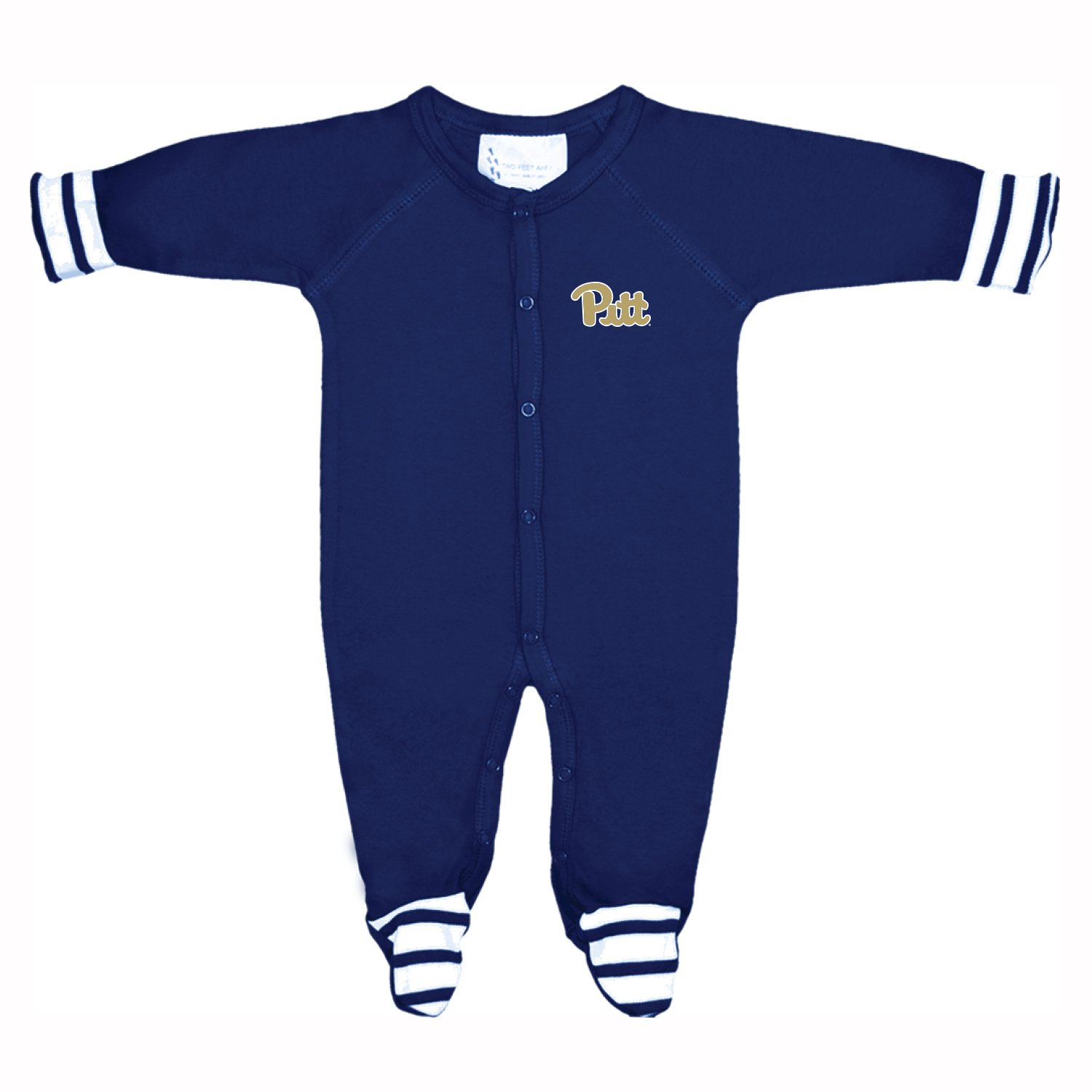 Navy Two Feet Ahead NCAA Pittsburgh Panthers Infant Stripe Footed Creeper 6 Months