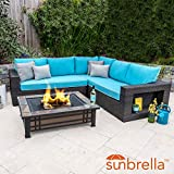 Lakeview Outdoor Designs Gentilly 3 Piece Wicker Patio Fire Pit Sectional Set W/Sofa & Sunbrella Canvas Aruba Cushions