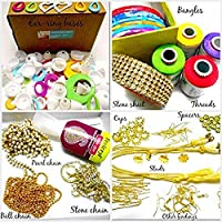 Goelx Silk Thread Jewelery-Making Fully Loaded Box with All Accessories!! - Pink, Golden, Maroon and Silver - Bangle Size - 2.8