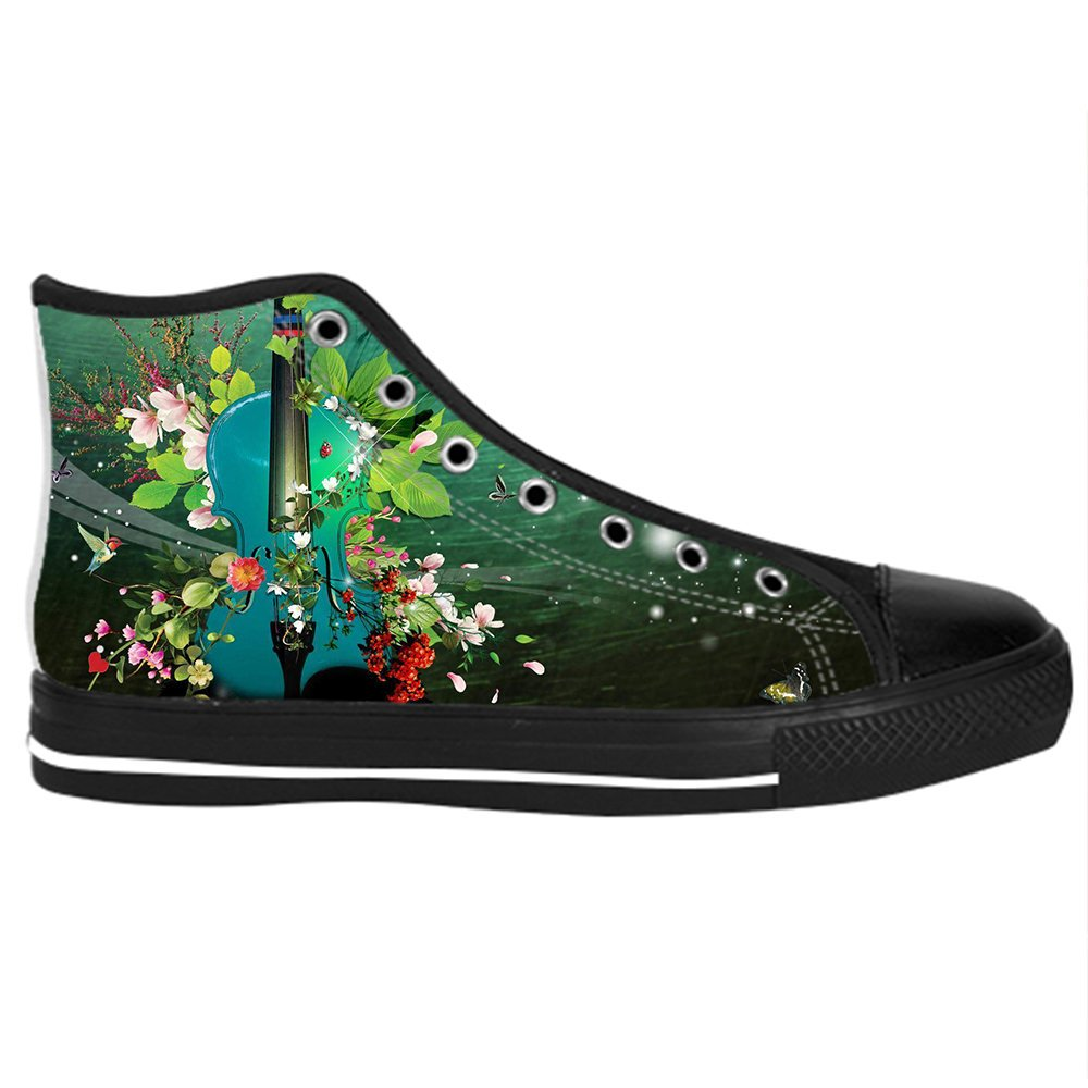 Custom Music and Guitar Womens Classic High Top Canvas Shoes Fashion Sneaker