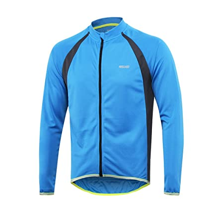 e0ec4eb4322 ARSUXEO Men s Long Sleeves Cycling Jersey MTB Bike Reflective Shirt 6025  Blue Size Small