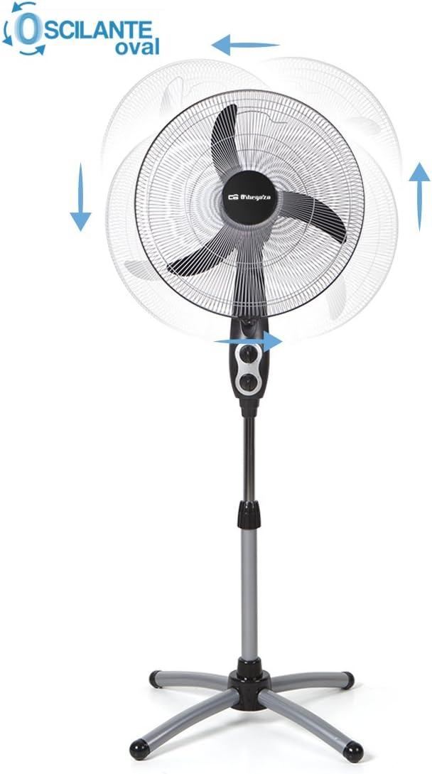 Orbegozo SF 0156 Ventilador de pie oscilante oval, 3 velocidades de ventilación, función temporizador, 45 cm diámetro hélice, altura ajustable, 60 W ...