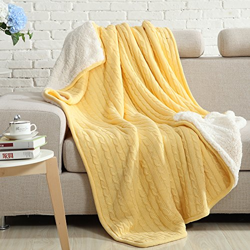 NTBAY All Seasons Collection Super Warm Cable Knit Throw Blanket (60X78 inches, Yellow)