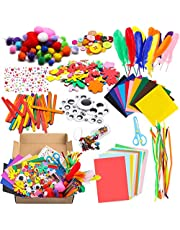 WATINC 1000Pcs DIY Art Craft Kit for Kids Creative Pompoms Pipe Cleaners Feather Foam Flowers Letters Crystal Sticker Felt Wiggle Googly Eyes Sequins Button Colorful Wooden Sticks Paper Party Supplies