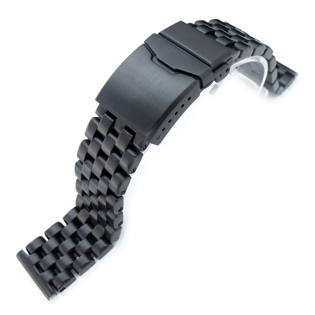 22mm Super Engineer Solid Stainless Steel Straight End Watch Band Button Chamfer, PVD Black