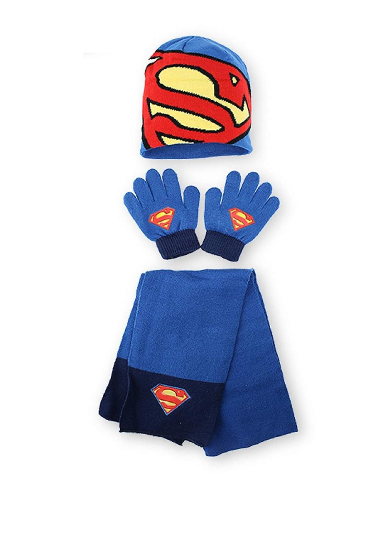 ottima qualit/à guanti e sciarpa da ragazzo DC,SUPERMAN Set invernale con cappello