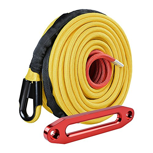 """95ft x 3/8"""" Yellow Synthetic Winch Rope w/All Rock Guard Sheath 22000 LBS + Anodized Red Hawse Fairlead for Jeep ATV UTV SUV Off-Road"""