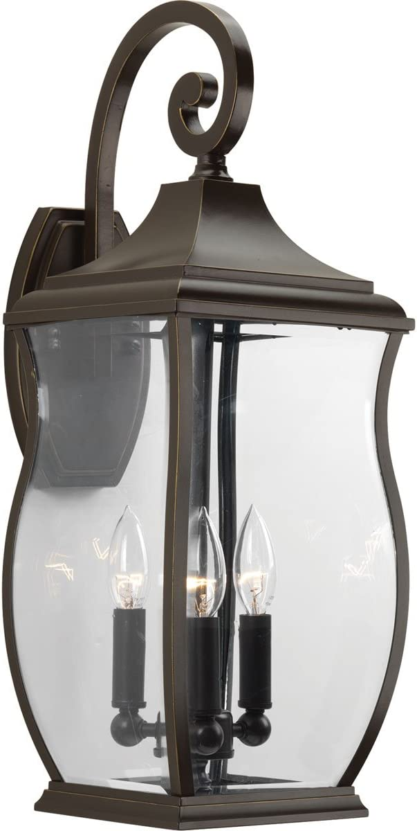 Livex Lighting 2221-22 Outdoor Wall Lantern with Hand Blown Clear Glass Shades, Flemish Brass