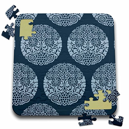 Russ Billington Patterns - Block Print Style Circular Grape Vine and Flowers in Tonal Blue - 10x10 Inch Puzzle (Tonal Block)