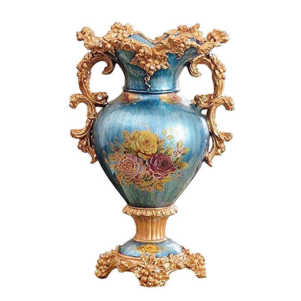 天然樹脂ローズ花瓶ダブル耳ブルージャーヨーロッパスタイルの豪華な家の装飾のためのリビングルームの寝室の床の花瓶や結婚式新築祝いギフト、ダイヤモンドを散りばめたデザイン49 cm B07SGPRCWF