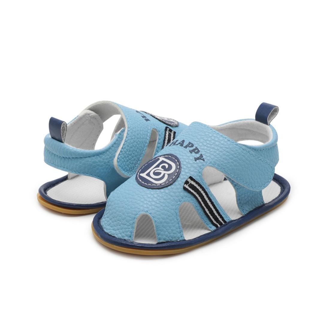 yjydada幼児ベビー男の子子供用ローマベビーベッドシューズソフトソール滑り止めLetterサンダル靴 B07DHDLM7W  ブルー 12