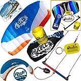 HQ Hydra II 420 V2 Kiteboarding CX Trainer Kite Bundle : (5 Items) Includes 2ND Control Bar Kite : CX 1.5M Foil Control Bar Trainer Kite + WindBone Kiteboarding Lifestyle Decals + WindBone Kitesurfing Key Chain + WB Kiteboarding Koozy Cooler : Water Trainer Foil Traction Power Kite