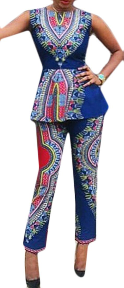 Spirio Women's Sleeveless Tank Tops Pants African Print Dashiki Outfits 2 Piece
