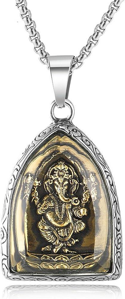 JAJAFOOK Hindu Ganesh Ganesha Elephant Pendant Men's Stainless Steel Amulet Necklace, 24Inch Chain