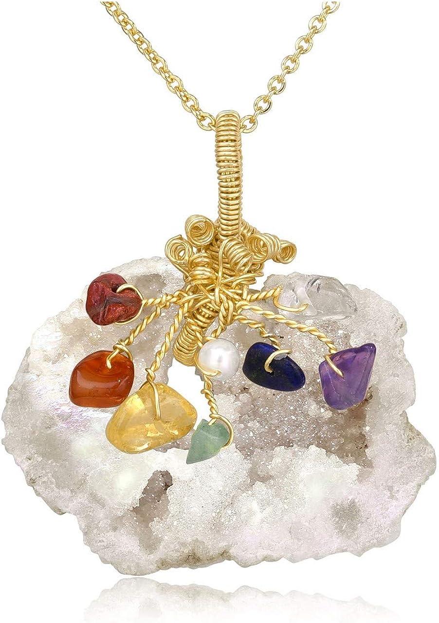 JSDDE - Colgante de cuarzo natural transparente con forma de racimo de cristal y 7 piedras de chakra envueltas en alambre