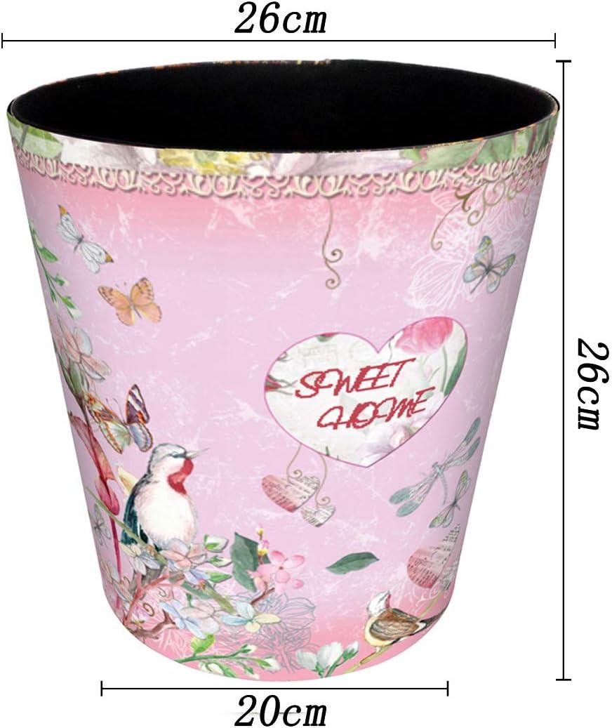20 Kitchen FutureShapers 10L Waterproof Waste Paper Bin for Office 26cm,Flowers pattern Bedroom,26
