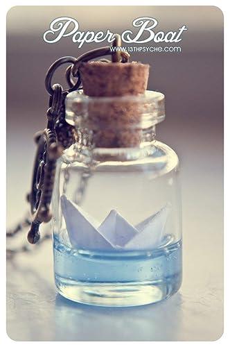 Botella de barco de papel collar. Origami barco lámpara colgante, collar de la mar