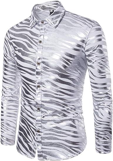 WanYangg Camisa De Moda para Hombres Jovenes Shiny Slim Fit Nightclub Manga Larga Botón Abajo Dos Tonos Imprimir De Rayas Zebra Estampado En Caliente ...