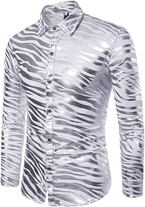 WanYangg Camisa De Moda para Hombres Jovenes Shiny Slim Fit Nightclub Manga Larga Botón Abajo Dos Tonos Imprimir De Rayas Zebra Estampado En Caliente Solapa Brillante Camisas Otoño Invierno Plata 2XL: Amazon.es: