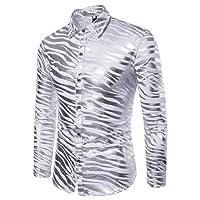 WanYangg Chemises De Mode pour Hommes Night Club Zebra Stripe Print Marquage À Chaud Bicolore Loisirs Chemise À Manches Longues Revers Chemise De Soirée Slim Fit