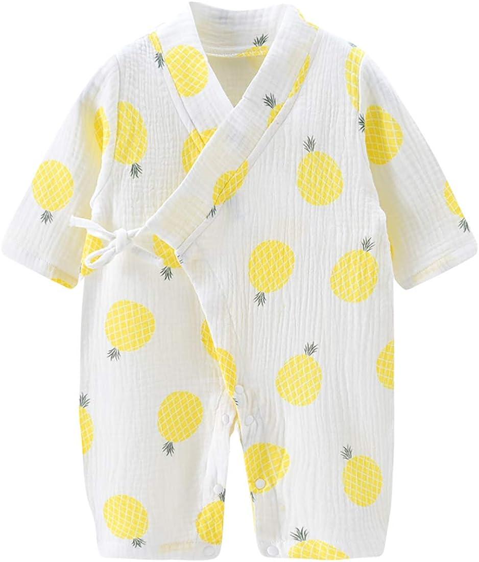 PAUBOLI Newborn Baby Wrap Shirt Organic Cotton Yarn Kimono Pajamas Long Sleeve 0-12 Months