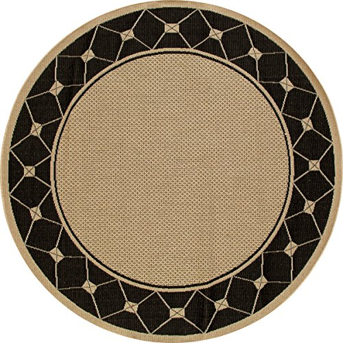 """Art Carpet Plymouth Collection Tied Flat Woven Indoor/Outdoor Round Area Rug, Round 7'10"""", Beige/Black from Art Carpet"""