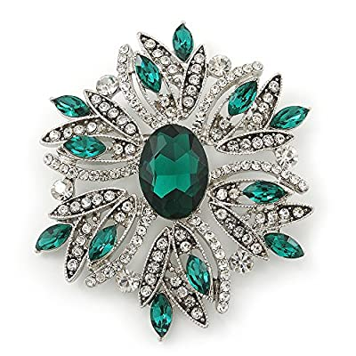 New Stunning Bridal Emerald Green, Clear Austrian Crystal Corsage Brooch In Rhodium Plating - 60mm Length for cheap
