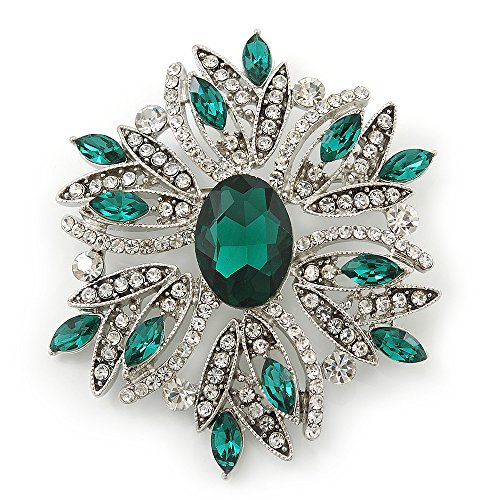 Stunning Bridal Emerald Green, Clear Austrian Crystal Corsage Brooch In Rhodium Plating - 60mm Length (Crystal Emerald Brooch)