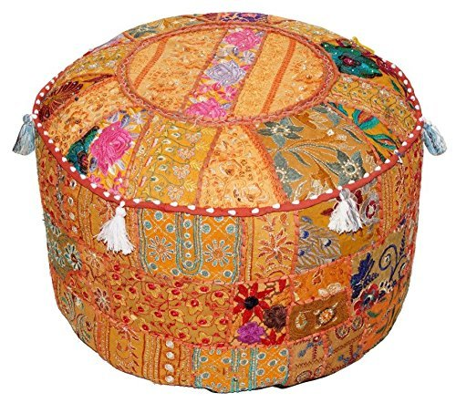 Aakriti Gallery Indian Pouf Footstool Ethnic Embroidered Pouf Cover, Indian Cotton Round Pouffe Ottoman Pouf Cover Pillow Ethnic Decor Art - Cover Only (22x14inch) (Orange) ()