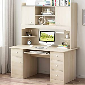 """Computer Desk with Hutch and Bookshelf,Workstation Heavy Duty 47""""X18""""X68""""Sturdy Office Desk with Storage Shelves for Home Office"""
