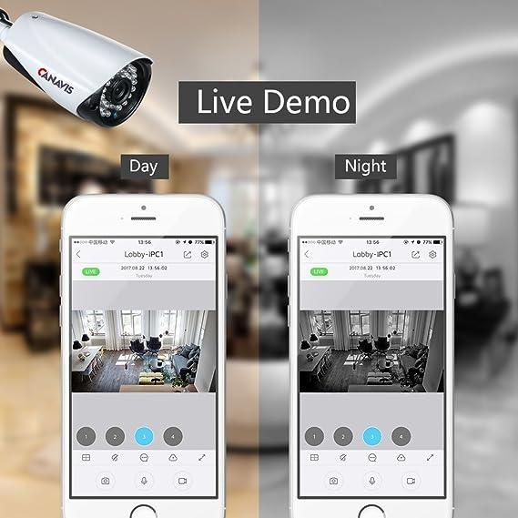 Vigilancia Cámara Set, canavis WiFi Vigilancia Exterior con 4pcs HD 1080P IP CCTV Cámara/36leds de IR Cut, IP66, Super Visión Nocturna, ...