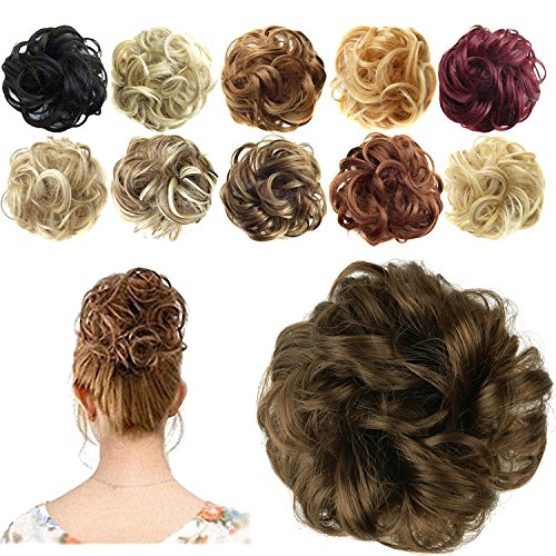 FESHFEN Synthetic Hair Bun Extensions Messy Hair Scrunchies Hair Pieces for Women Hair Donut Updo Ponytail (Sally Beauty Supply Hair)