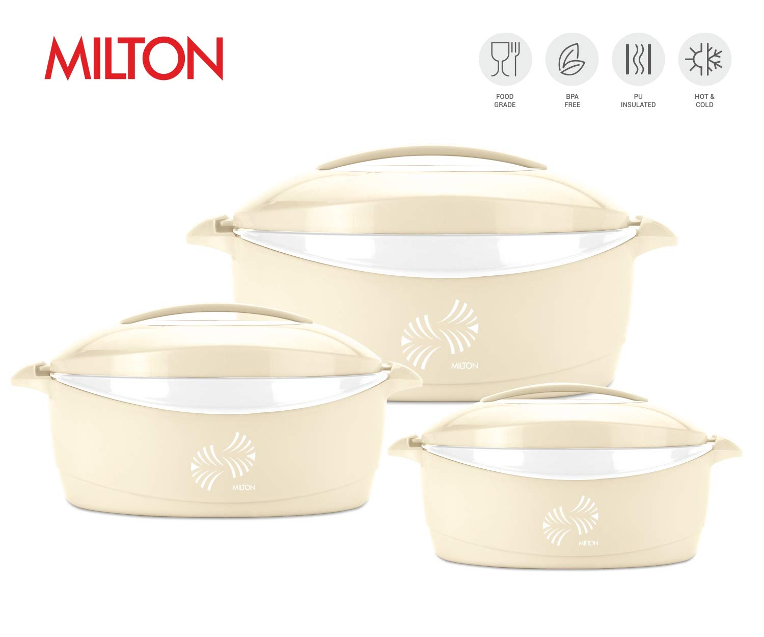 Milton Trumph 3 pc set (34oz/50oz/84 oz) Insulated Hot Pot/Casserole/Serving Bowl with Lid & Stainless Steel Inner - Keep food Hot/Cold upto 4-6 hrs (Beige/White)
