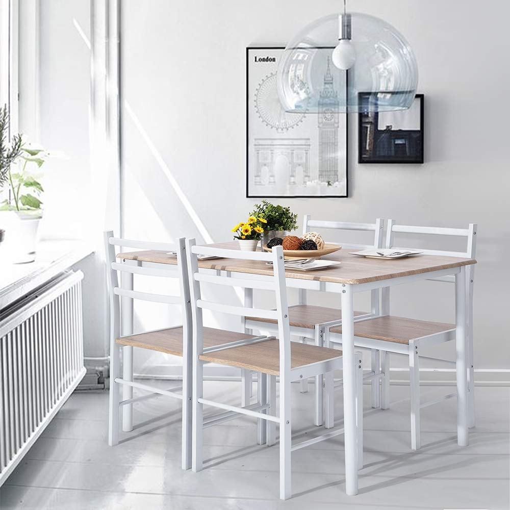 FurnitureR Kitchen Dining Table Set 5 Pieces Glass Modern Metal Frame Table and Chair Set Desk for Dining Room Kitchen Breakfast Nook-White