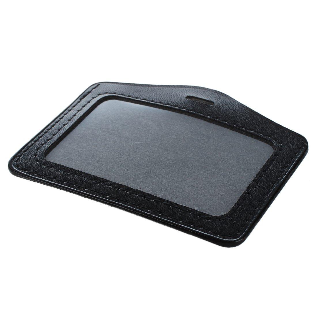 5 Stueck schwarz Durchsichtig Kunstleder Business ID-Karte Abzeichen-Halter SODIAL R